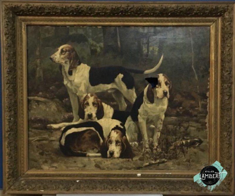 Photographie de l'oeuvre La Meute de chien, de Tristan Lacroix. Nature de l'intervention: Restauration fondamentale. Nettoyage du vernis, reprise de déchirrure, doublage, réintégration illusioniste