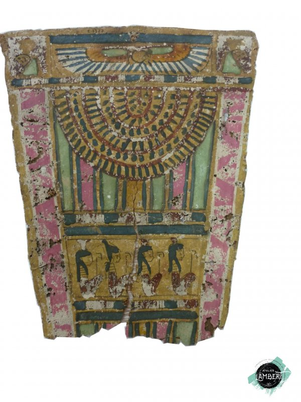 Photographie de l'oeuvre Plastron, de Artisan égyptien. Nature de l'intervention: Nettoyage et reprise de déchirrures