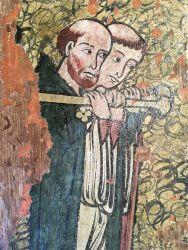 Photographie de l'oeuvre Armoire Peinte, de Artisan du Moyen-Age. Nature de l'intervention: Refixage de la couche picturale.
